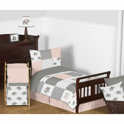 Elephant Grey and Blush Pink Collection Toddler Bedding