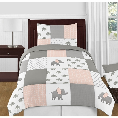 Elephant Grey and Blush Pink Collection Twin Bedding