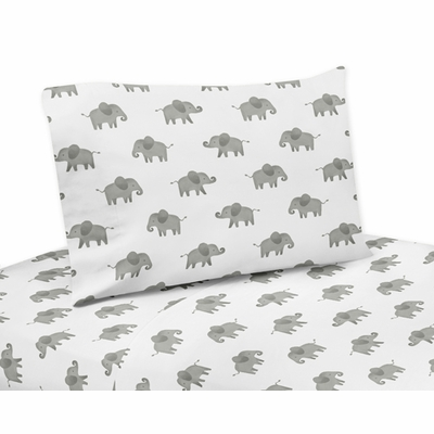 Elephant Grey and Blush Pink Collection Twin Sheet Set