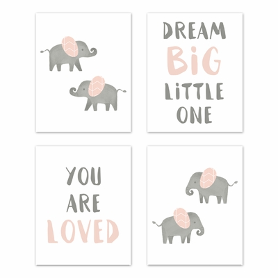 Elephant Grey and Blush Pink Collection Wall Art Prints - Set of 4