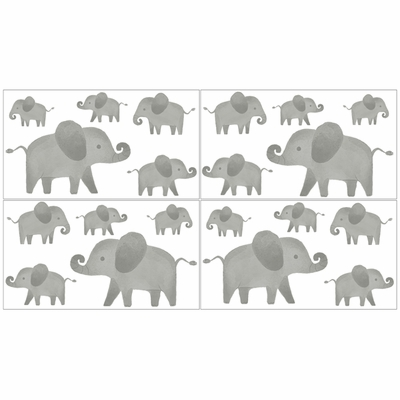 Elephant Grey and Blush Pink Collection Peel and Stick Wall Decal Stickers - Set of 4 Sheets