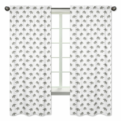 Elephant Grey and Blush Pink Collection Window Panels - Set of 2