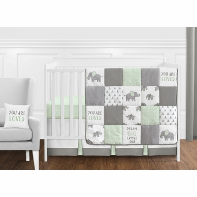 Elephant Grey and Mint Collection 11 Piece Bumperless Crib Bedding
