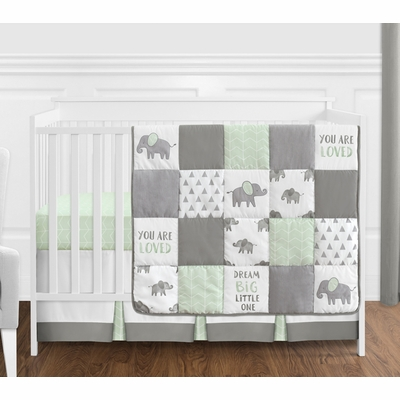 Elephant Grey and Mint Collection 4 Piece Bumperless Crib Bedding