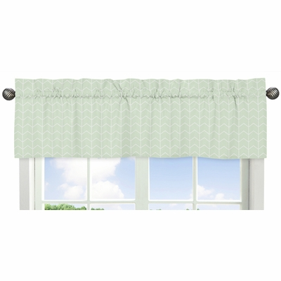 Elephant Grey and Mint Collection Chevron Arrow Window Valance
