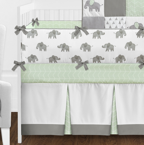Elephant Grey And Mint Collection Crib Bedding