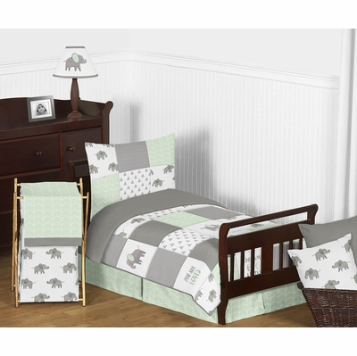 Elephant Grey and Mint Collection Toddler Bedding