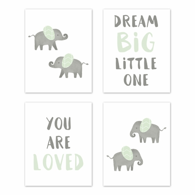 Elephant Grey and Mint Collection Wall Art Prints - Set of 4