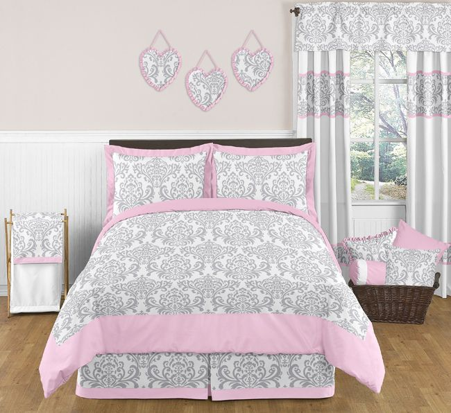 Elizabeth Pink And Gray Full Queen Bedding Collection