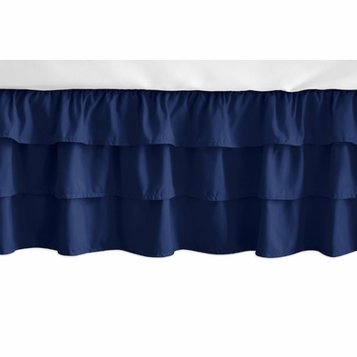 Fox Patch Pink and Navy Collection 3 Tiered Crib Bed Skirt