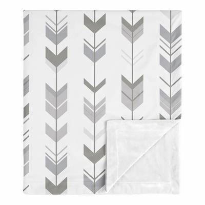 Mod Arrow Grey and White Collection Baby Blanket