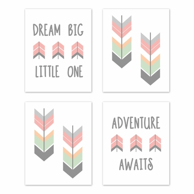 Mod Arrow Grey, Coral and Mint Collection Wall Art Prints - Set of 4