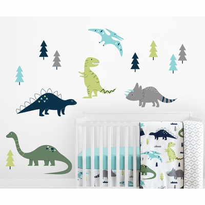 Mod Dinosaur Blue and Green Collection Large Wall Mural Decals Stickers - Set of 2 Sheets