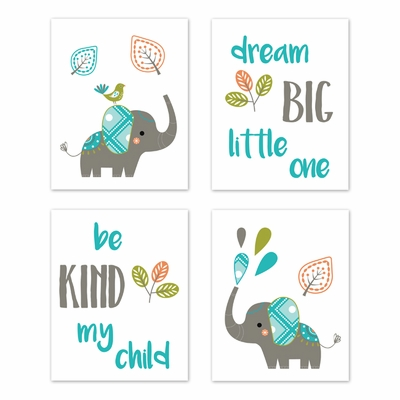 Mod Elephant Collection Wall Art Prints - Set of 4