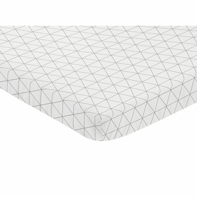 Mod Jungle Collection Mini Crib Sheet - Grey and White Triangle Print