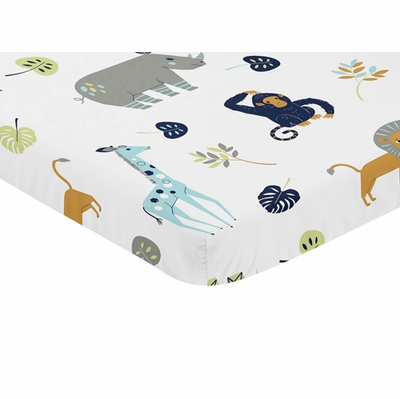 Mod Jungle Collection Mini Crib Sheet - Safari Animal Print