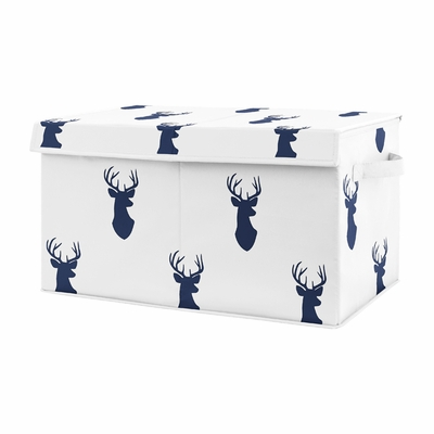 Navy Blue Deer Boy Baby Nursery or Kids Room Small Fabric Toy Bin Storage Box Chest for Woodland Deer Stag Collection by Sweet Jojo Designs