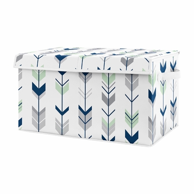 Navy Blue, Mint and Grey Woodland Arrow Unisex Boy or Girl Baby Nursery or Kids Room Small Fabric Toy Bin Storage Box Chest for Woodsy Collection by Sweet Jojo Designs