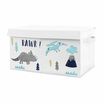 Navy Blue, Turquoise and Grey Modern Dino Boy Baby Nursery or Kids Room Small Fabric Toy Bin Storage Box Chest for Mod Dinosaur Collection by Sweet Jojo Designs
