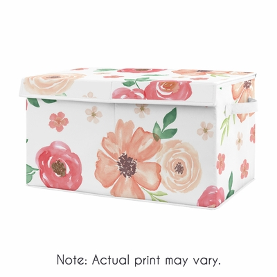 Peach and Green Rose Flower Girl Baby Nursery or Kids Room Small Fabric Toy Bin Storage Box Chest for Watercolor Floral Collection by Sweet Jojo Designs