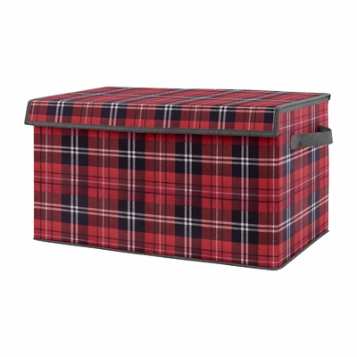 Red and Black Woodland Plaid Flannel Boy Baby Nursery or Kids Room Small Fabric Toy Bin Storage Box Chest for Rustic Patch Collection by Sweet Jojo Designs