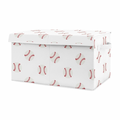 Red and White Sports Boy Baby Nursery or Kids Room Small Fabric Toy Bin Storage Box Chest for Baseball Patch Collection by Sweet Jojo Designs