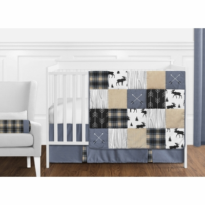 Rustic Patch Blue and Tan Collection 11 Piece Bumperless Crib Bedding