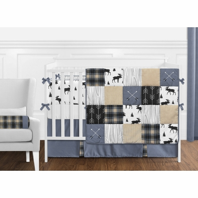 Rustic Patch Blue and Tan Collection Crib Bedding
