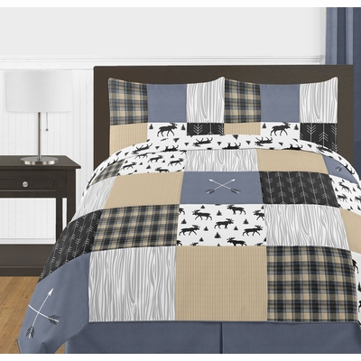 Rustic Patch Blue and Tan Collection Full/Queen Bedding