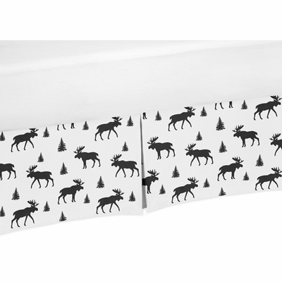 Rustic Patch Blue and Tan Collection Moose Print Crib Bed Skirt