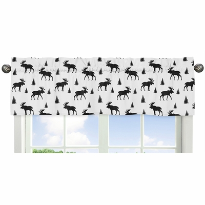 Rustic Patch Blue and Tan Collection Moose Print Window Valance