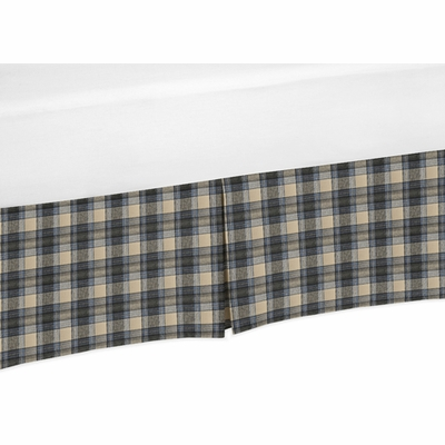 Rustic Patch Blue and Tan Collection Plaid Crib Bed Skirt