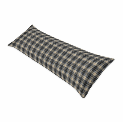 Rustic Patch Blue and Tan Collection Plaid Full Length Body Pillow Cover