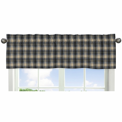Rustic Patch Blue and Tan Collection Plaid Window Valance