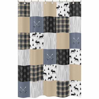 Rustic Patch Blue and Tan Collection Shower Curtain