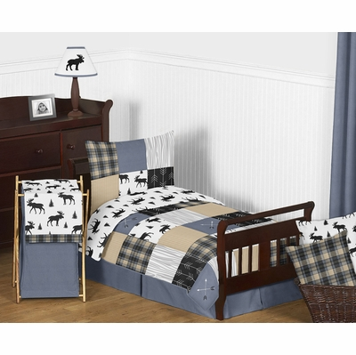 Rustic Patch Blue and Tan Collection Toddler Bedding