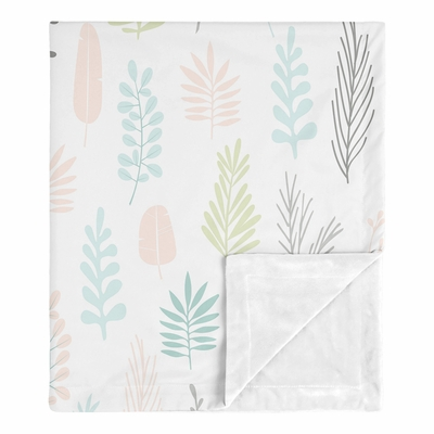 Sloth Pink and Grey Collection Baby Blanket - Leaf Print