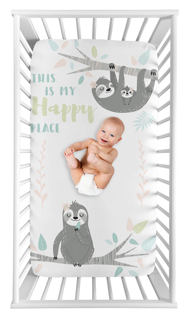 Sloth Pink And Grey Collection Photo Op Crib Sheet