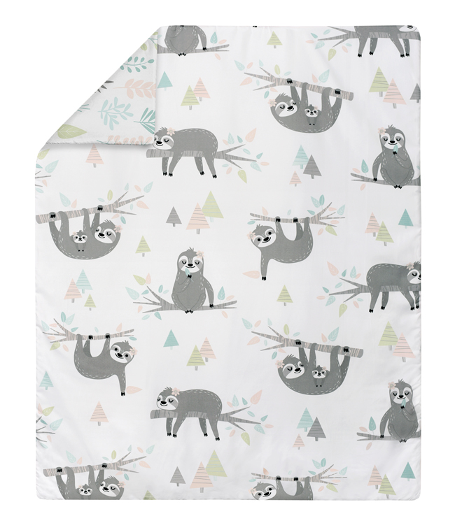 Sloth Pink And Grey Collection Toddler Bedding