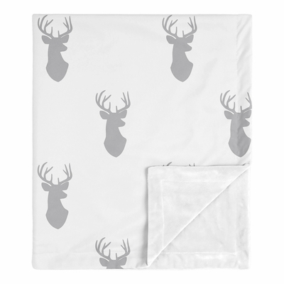 Stag Grey and White Collection Baby Blanket