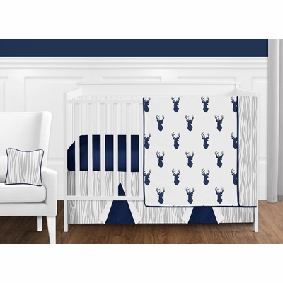 Stag Navy and White 11 Piece Bumperless Crib Bedding Collection