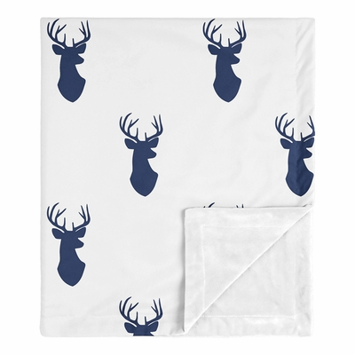Stag Navy and White Collection Baby Blanket