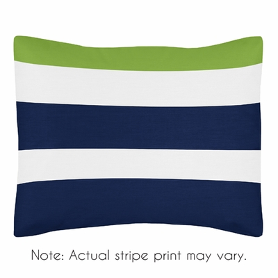 Stripe Navy and Lime Collection Pillow Sham
