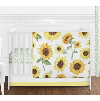 Sunflower Collection 4 Piece Bumperless Crib Bedding