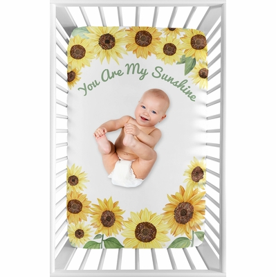 Sunflower Collection Mini Crib Sheet - You are my Sunshine