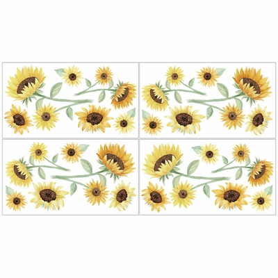 Sunflower Collection Peel and Stick Wall Decal Stickers - Set of 4 Sheets