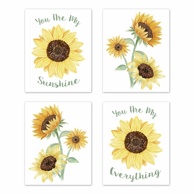 Sunflower Collection Wall Art Prints - Set of 4