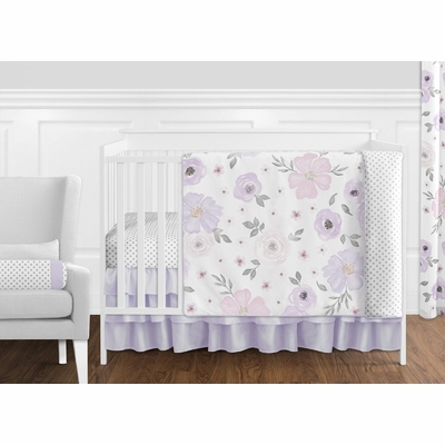 Watercolor Floral Lavender and Grey Collection 11 Piece Bumperless Crib Bedding