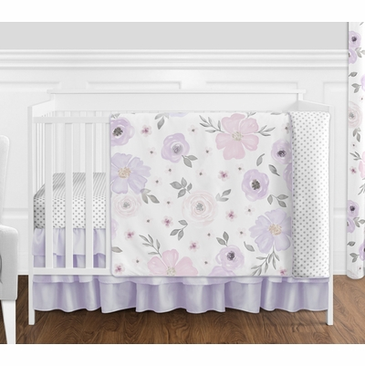 Watercolor Floral Lavender and Grey Collection 4 Piece Bumperless Crib Bedding