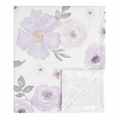 Watercolor Floral Lavender and Grey Collection Baby Blanket